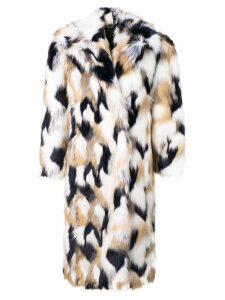 Givenchy faux fur oversized coat - White