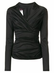 Talbot Runhof draped V-neck blouse - Black