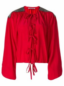 Christopher Kane crystal bow blouse - Red