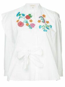 Delpozo embroidered flower blouse - White