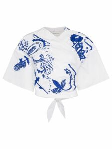 Marques'Almeida cropped embroidered wrap top - White