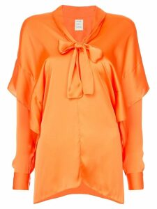 Maison Rabih Kayrouz pussy bow layered blouse - ORANGE