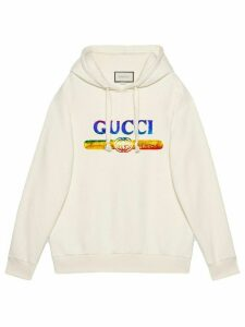 Gucci Sweatshirt with sequin Gucci logo - White