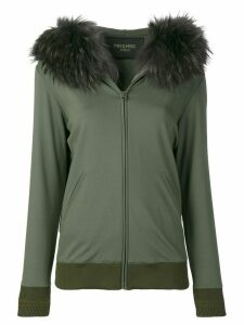 Mr & Mrs Italy fur-trim zipped hoodie - Green