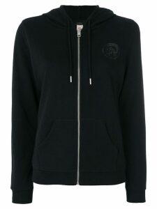 Diesel chest print zipped hoodie - Black