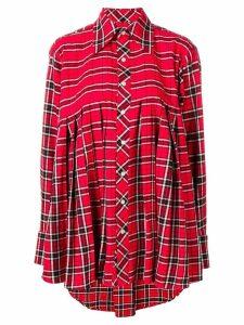 Matthew Adams Dolan pleated check flannel shirt - Red