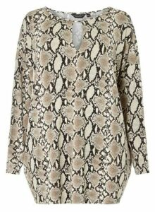 Womens **Dp Curve Grey Snake Print Jersey Batwing Sleeve Top- Grey, Grey