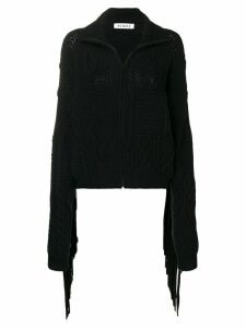 Almaz fringed sleeve zipped cardigan - Black