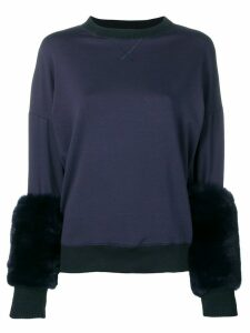 Mr & Mrs Italy fur-trim sweater - Blue