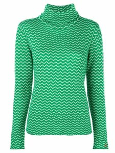 Perfect Moment chevron striped roll neck jumper - Green