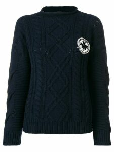 Mr & Mrs Italy logo cable-knit sweater - Blue