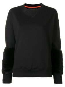 Mr & Mrs Italy fur-cuff fitted sweater - Black