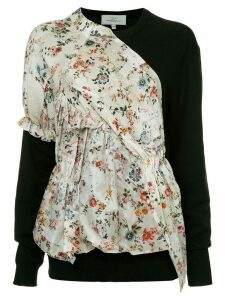 Preen By Thornton Bregazzi floral print panel jumper - Black