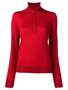 Carven ruffled neck jumper - Red