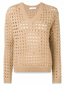 Victoria Beckham cut-out V-neck jumper - Neutrals