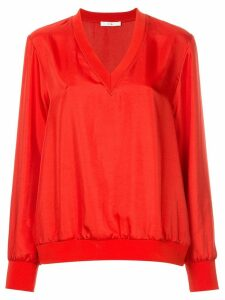 Tibi mendini twill v-neck top - Red