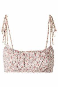 Zimmermann - Heathers Cropped Floral-print Linen Top - Cream