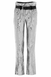 RtA - Dillon Belted Sequined Satin Pants - Silver