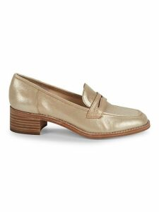 Kimmy Metallic Leather Penny Loafers