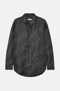 Equipment - Essential Silk-jacquard Shirt - Leopard print
