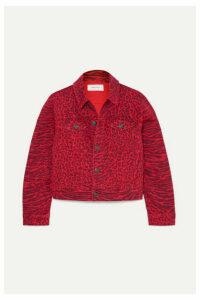 Current/Elliott - The Baby Trucker Leopard-print Denim Jacket - Red