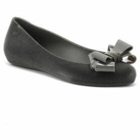 Zaxy  Womens Grey Pop Flock Bow Luxe Ballerina Flats  women's Shoes (Pumps / Ballerinas) in Grey