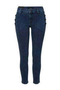 J Brand Mid Rise Skinny Jeans with Buttoned Pockets