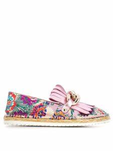 Casadei floral embroidered espadrilles - Pink