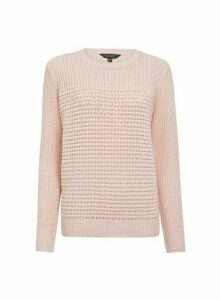 Womens Pink Textured Panel Jumper- Pink, Pink