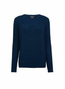 Womens Teal Textured Panel Jumper- Blue, Blue