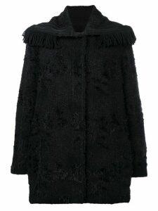 Ermanno Scervino fringed-collar fitted coat - Black