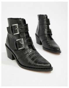 Kurt Geiger Denny black croc effect black ankle boots with buckle detail