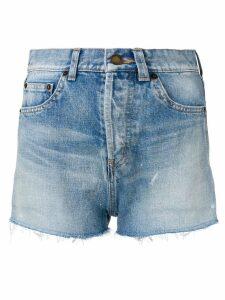 Saint Laurent distressed denim shorts - Blue