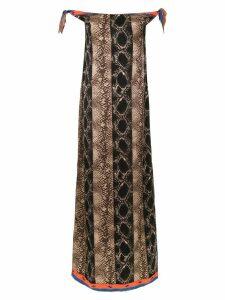 Amir Slama off the shoulder long dress - Brown