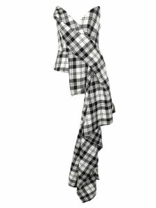 Monse asymmetric plaid corset top - Black