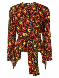 Proenza Schouler Wildflower Tied Top - POPPY WILDFLOWER