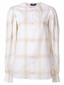 Calvin Klein 205W39nyc buttoned sleeve plaid top - White