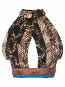 Amir Slama silk cropped top - Black