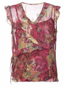 Nicole Miller sequin asymmetric blouse - PINK