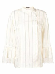 Bottega Veneta lace trim striped blouse - Neutrals