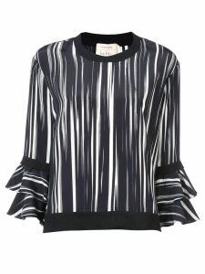 Nicole Miller ruffle sleeve blouse - Black