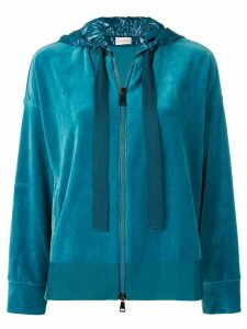 Moncler zipped hooded sweatshirt - Blue
