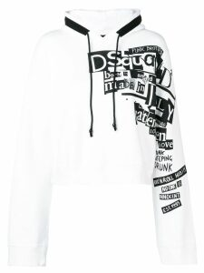 Dsquared2 logo print cropped hoodie - White