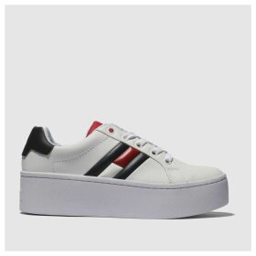 Tommy Hilfiger White & Navy Flatform Flag Sneaker Trainers