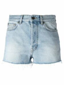 Saint Laurent studded denim shorts - Blue