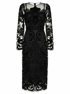 Dolce & Gabbana lace embellished silk midi dress - Black