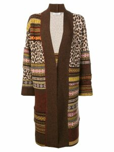 Pringle of Scotland patchwork fair isle cardigan - Brown