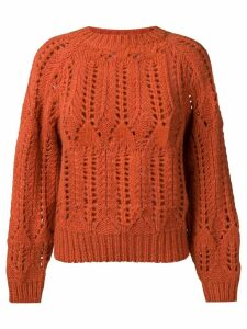 Vanessa Bruno perforated round neck jumper - Orange