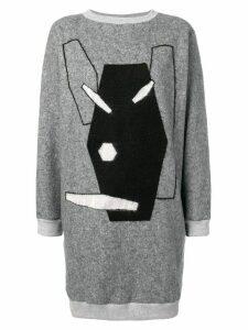 Julien David embroidered sweater dress - Grey