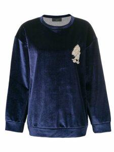 Lédition embellished detail velvet sweatshirt - Blue